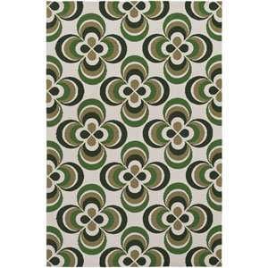 Joan Everston Olive Green and Moss Rectangular: 2 Ft. x 3 Ft. Area Rug