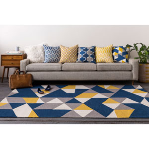 Joan Fulton Navy Blue and Yellow and Gray Rectangular: 2 Ft. x 3 Ft. Area Rug