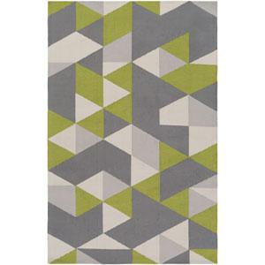 Joan Fulton Lime and Gray and Light Gray Rectangular: 2 Ft. x 3 Ft. Area Rug