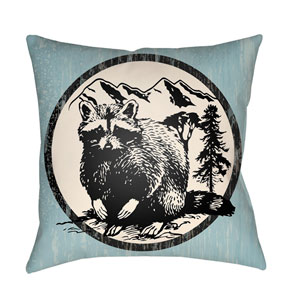 Lodge Cabin Raccoon Ridge Light Blue and Onyx Black 22 x 22 In. Pillow with Poly Fill