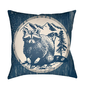 Lodge Cabin Raccoon Ridge Navy Blue and Beige 18 x 18 In. Pillow with Poly Fill