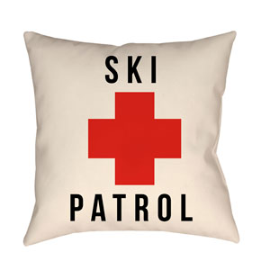 Lodge Cabin Ski Patrol Crimson Red and Beige 18 x 18 In. Pillow with Poly Fill