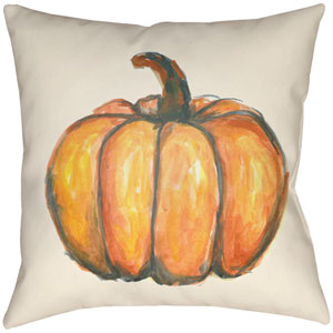 Lodge Cabin Squash Burnt Orange and Beige 16 x 16 In. Pillow with Poly Fill