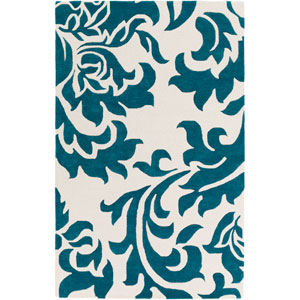 Lounge Heidi Teal and Off-White Rectangular: 4 Ft. x 6 Ft. Area Rug