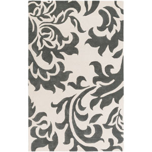 Lounge Heidi Dark Gray and Off-White Rectangular: 4 Ft. x 6 Ft. Area Rug