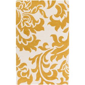 Lounge Heidi Gold and Off-White Rectangular: 4 Ft. x 6 Ft. Area Rug