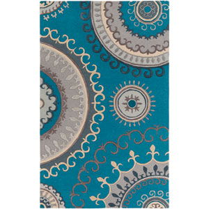 Lounge Alanna Teal and Gray Rectangular: 4 Ft. x 6 Ft. Area Rug