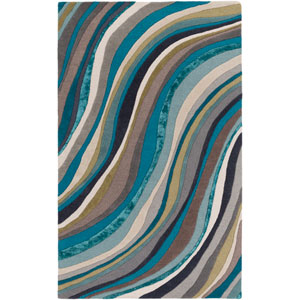 Lounge Carmen Multicolor and Teal Rectangular: 5 Ft. x 8 Ft. Area Rug