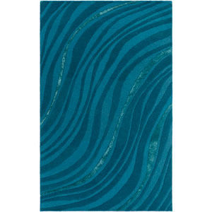 Lounge Carmen Teal and Dark Blue Runner: 2 Ft. x 8 Ft.