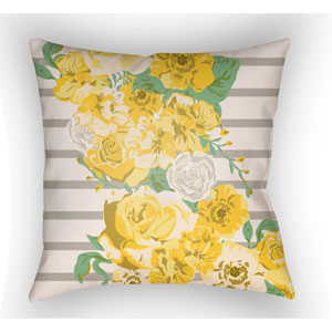 Lolita Sofia Bright Yellow and Light Yellow 26 x 26 In. Pillow with Poly Fill