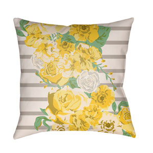 Lolita Sofia Bright Yellow and Light Yellow 20 x 20 In. Pillow with Poly Fill