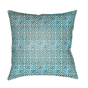 Lolita Poppy Teal and Aqua 16 x 16 In. Pillow with Poly Fill