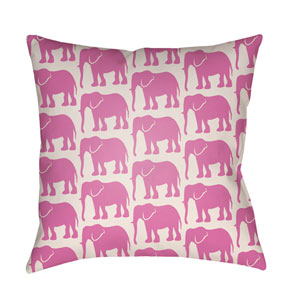 Lolita Elephant Fuchsia and Ivory 18 x 18 In. Pillow with Poly Fill