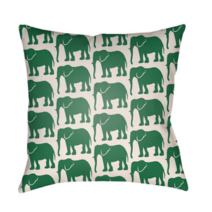 Lolita Elephant Kelly Green and Ivory 18 x 18 In. Pillow with Poly Fill