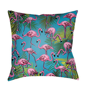 Lolita Flamingo Fuchsia and Aqua 20 x 20 In. Pillow with Poly Fill