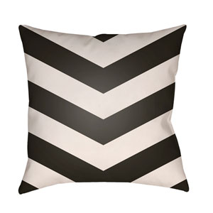 Litchfield Chevron Onyx Black and Ivory 26 x 26 In. Pillow with Poly Fill