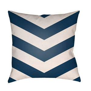 Litchfield Chevron Navy Blue and Ivory 22 x 22 In. Pillow with Poly Fill