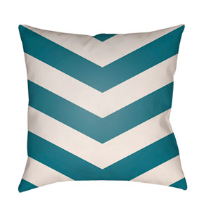 Litchfield Chevron Teal and Ivory 18 x 18 In. Pillow with Poly Fill