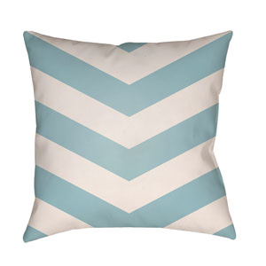 Litchfield Chevron Light Blue and Ivory 16 x 16 In. Pillow with Poly Fill