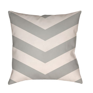 Litchfield Chevron Light Gray and Ivory 26 x 26 In. Pillow with Poly Fill