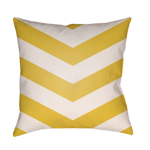 Litchfield Chevron Bright Yellow and Ivory 26 x 26 In. Pillow with Poly Fill