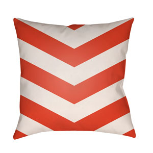 Litchfield Chevron Poppy Red and Ivory 26 x 26 In. Pillow with Poly Fill