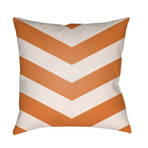 Litchfield Chevron Tangerine and Ivory 26 x 26 In. Pillow with Poly Fill