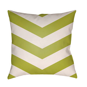 Litchfield Chevron Lime Green and Ivory 26 x 26 In. Pillow with Poly Fill