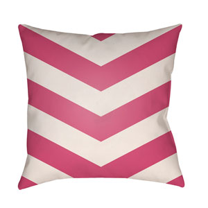Litchfield Chevron Hot Pink and Ivory 22 x 22 In. Pillow with Poly Fill