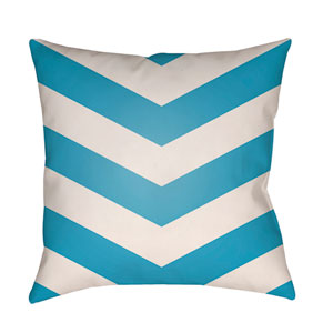 Litchfield Chevron Aqua and Ivory 22 x 22 In. Pillow with Poly Fill