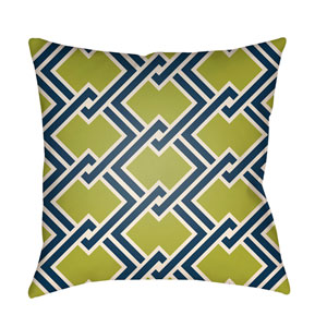 Litchfield Cabana Lime Green and Navy Blue 20 x 20 In. Pillow with Poly Fill