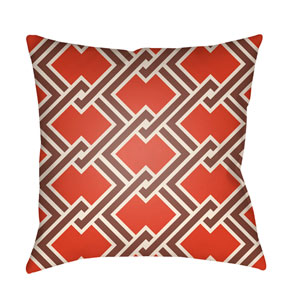Litchfield Cabana Poppy Red and Burgundy 22 x 22 In. Pillow with Poly Fill