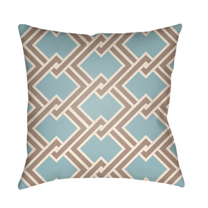 Litchfield Cabana Light Blue and Taupe 22 x 22 In. Pillow with Poly Fill