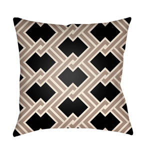Litchfield Cabana Onyx and Taupe 22 x 22 In. Pillow with Poly Fill
