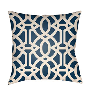 Litchfield Massey Navy Blue and Ivory 26 x 26 In. Pillow with Poly Fill