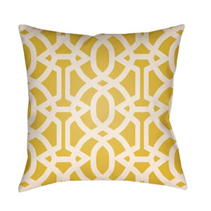 Litchfield Massey Bright Yellow and Ivory 16 x 16 In. Pillow with Poly Fill