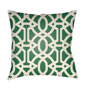 Litchfield Massey Kelly Green and Ivory 22 x 22 In. Pillow with Poly Fill