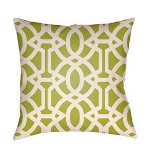 Litchfield Massey Lime Green and Ivory 22 x 22 In. Pillow with Poly Fill