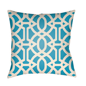 Litchfield Massey Aqua and Ivory 18 x 18 In. Pillow with Poly Fill