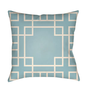 Litchfield Hanser Light Blue and Ivory 22 x 22 In. Pillow with Poly Fill