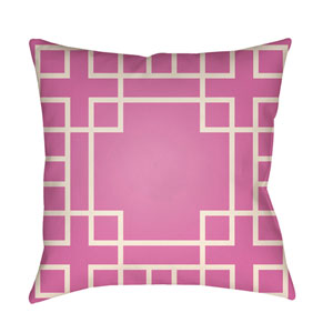 Litchfield Hanser Fuchsia and Ivory 22 x 22 In. Pillow with Poly Fill
