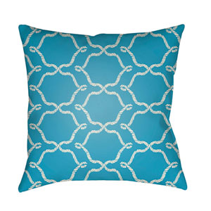 Litchfield Conway Aqua and Ivory 26 x 26 In. Pillow with Poly Fill