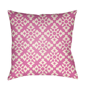 Litchfield Ladson Fuchsia and Ivory 22 x 22 In. Pillow with Poly Fill