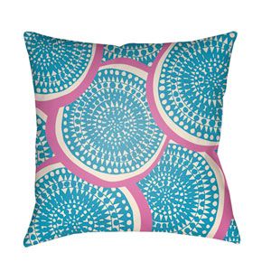 Litchfield Summerville Aqua and Ivory 22 x 22 In. Pillow with Poly Fill