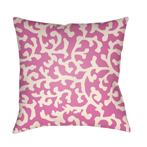 Litchfield Lumberton Fuchsia and Ivory 22 x 22 In. Pillow with Poly Fill