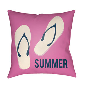 Litchfield Summer Fuchsia and Navy Blue 16 x 16 In. Pillow with Poly Fill