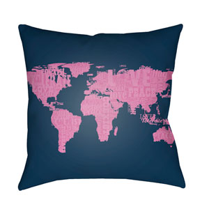 Litchfield Global Fuchsia and Navy Blue 22 x 22 In. Pillow with Poly Fill