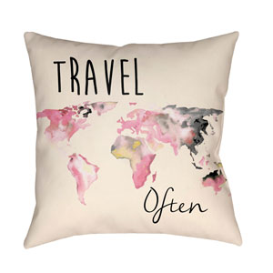 Litchfield Carpe Carnation Pink and Charcoal 16 x 16 In. Pillow with Poly Fill