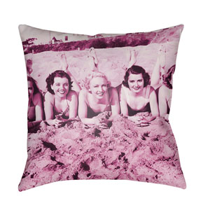 Litchfield Sandy Magenta 18 x 18 In. Pillow with Poly Fill