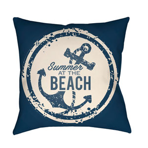 Litchfield Anchor Navy Blue and Ivory 18 x 18 In. Pillow with Poly Fill